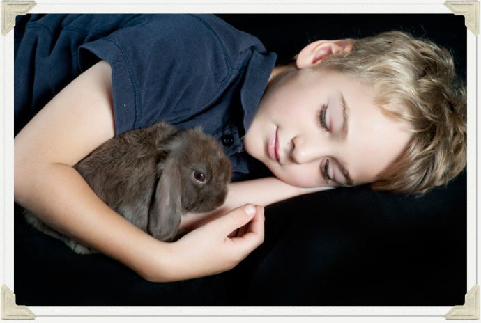 Boy and His rabbit photo